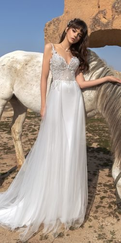 katherine joyce wedding dresses sheath with spaghetti straps lace top for beach