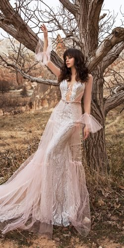 katherine joyce wedding dresses with illusion long sleeves sexy deep v neckline sequins 2020