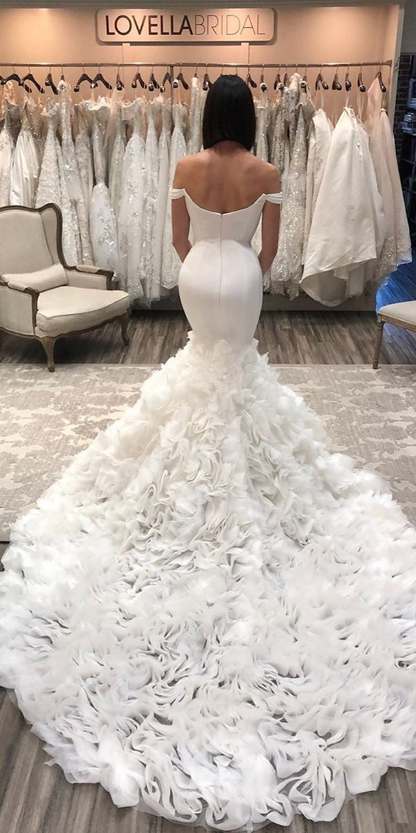 mermaid wedding dresses off the shoulder simple with train inesdisanto