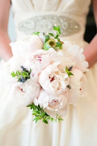 single bloom wedding bouquets gentle small peonies missy photography