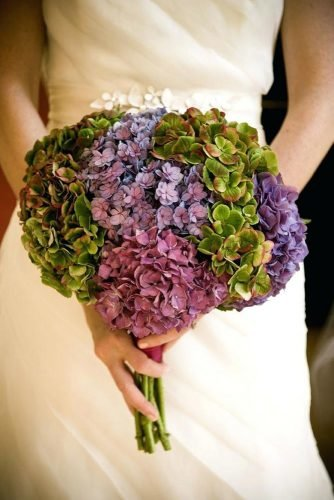 single bloom wedding bouquets hydranhgeas lilac and green flowers candisfloral