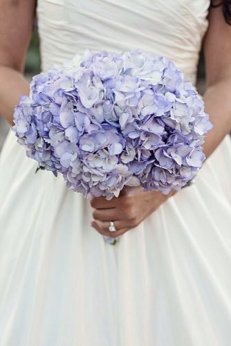 single bloom wedding bouquets hydranhgeas lilac flowers christina karst photography