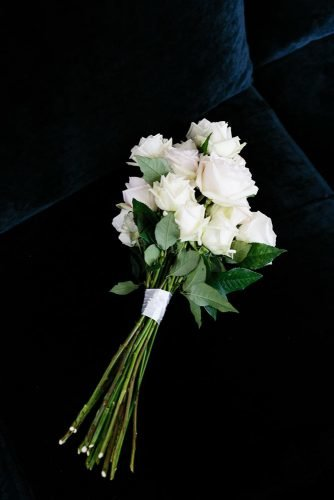 single bloom wedding bouquets long with white roses erinandtara