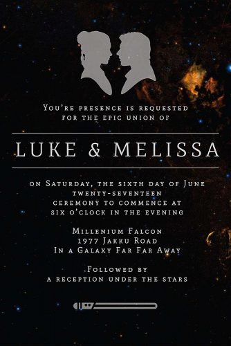 star wars wedding theme invitation