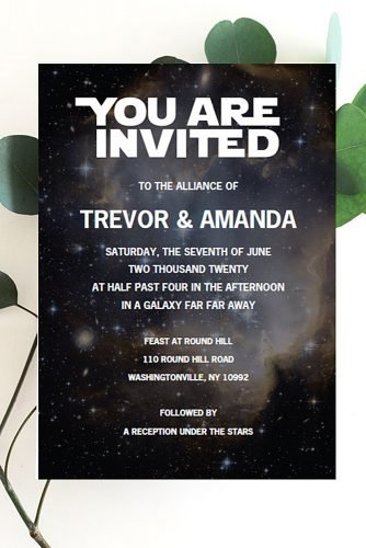 star wars wedding theme wedding invitation