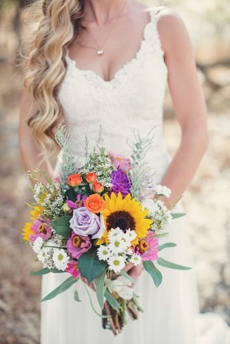 sunflower wedding bouquets colorful chic bouquet