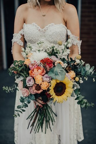 sunflower wedding bouquets colorful roses