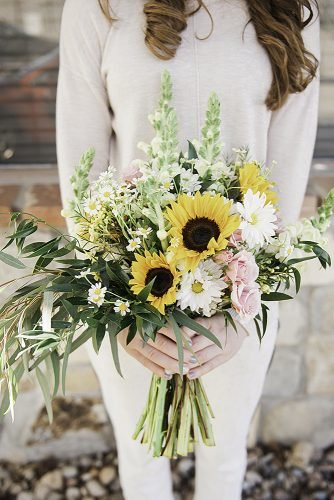 sunflower wedding bouquets greenery