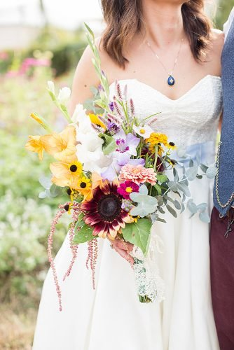 sunflower wedding bouquets with orchids