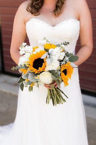 sunflower wedding bouquets with white roses