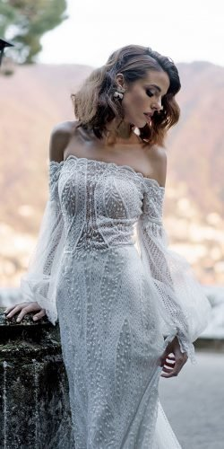 vintage inspired wedding dresses with long sleeves off the shoulder beaded romanivanovphoto
