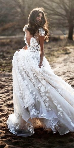 wedding dress designers a line with cape sleeves floral appliques berta