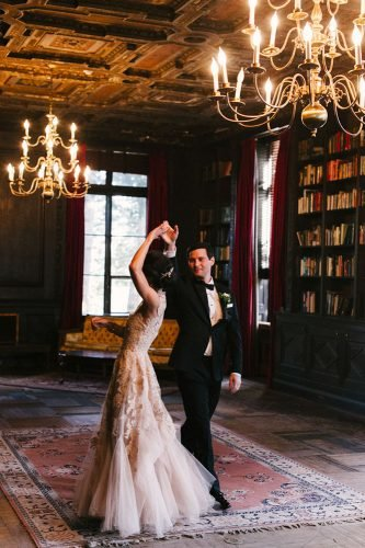 wedding entourage photo ideas dance in libraly judypak