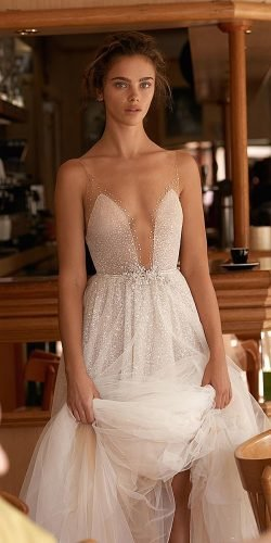 a line wedding dresses illusion neckline sequins with straps nude for beach lizmartinez