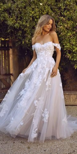 a line wedding dresses off the shoulder sweetheart neckline floral appliuques rose madi lane