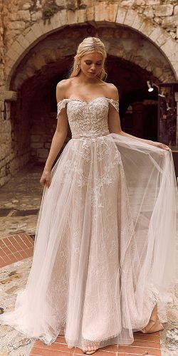 a line wedding dresses off the shoulder sweetheart strapless neckline lace madi lane
