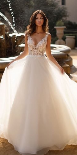 a line wedding dresses v neckline lace top sleveless moonlightbridal