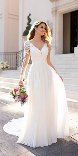a line wedding dresses with illusion long sleeves v neckline lace stella york