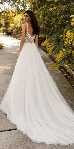 a line wedding dresses with spaghetti straps lace top with train pronovias