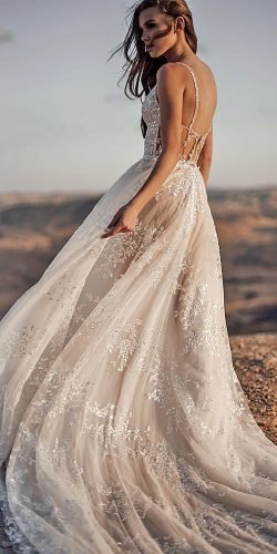 a line wedding dresses with spaghetti straps low back delicate lace galia lahav
