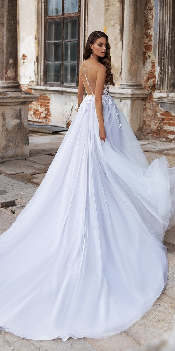 backless wedding dresses a line illusion blue arivilloso