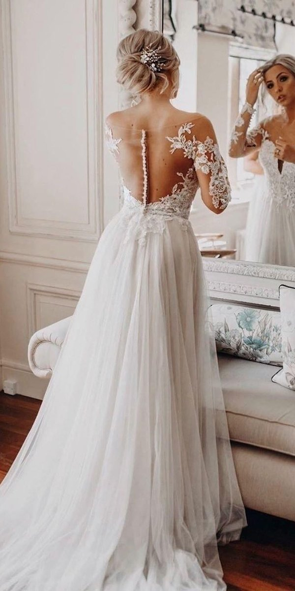 backless wedding dresses a line illusion lace long sleeves missstellayork