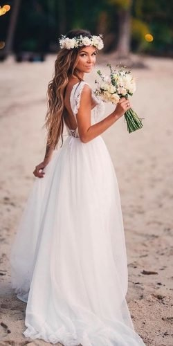 beach wedding dresses a line low back summer romantic alexveil