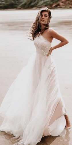 beach wedding dresses a line one shoulder summer simple stephanieallin