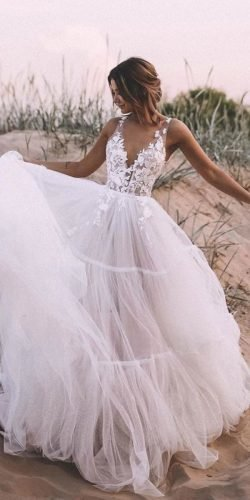 beach wedding dresses a line plunging neckline floral top country kattya lisa