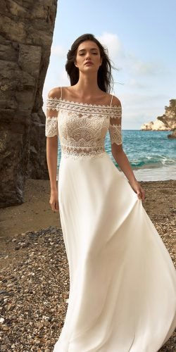 beach wedding dresses a line with straps lace top nicolespose