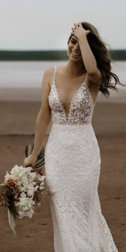 beach wedding dresses sheath with spaghetti straps v neckline lace madewithlovebridal