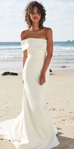 beach wedding dresses simple strapless sheath with train chosenbyoneday