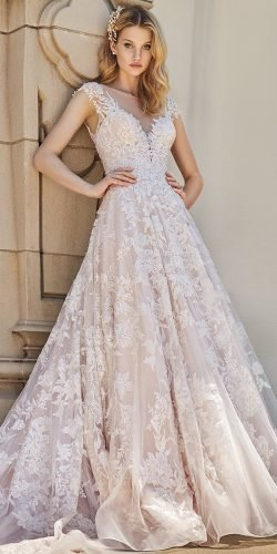 best wedding dresses a line illusion neckline full lace val stefani