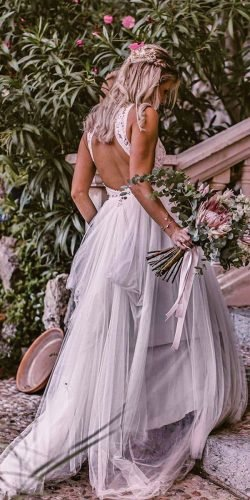 best wedding dresses a line open back lace top boho pronovias