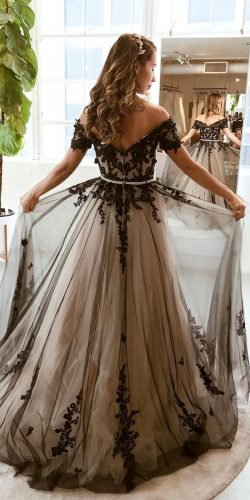 black wedding dresses a line off the shoulder lace with white cocomelody