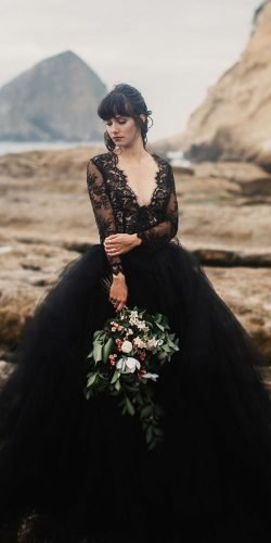 black wedding dresses with long sleeves v neckline tulle skirt claire la aye