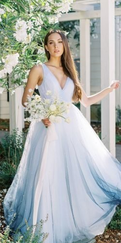 blue wedding dresses simple a line v neckline country cassievalentephoto