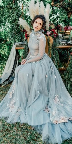 blue wedding dresses with long sleeves high neck floral appliques dimitris petrou