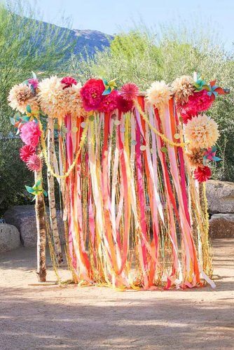 diy wedding ideas bright garlands backdrop