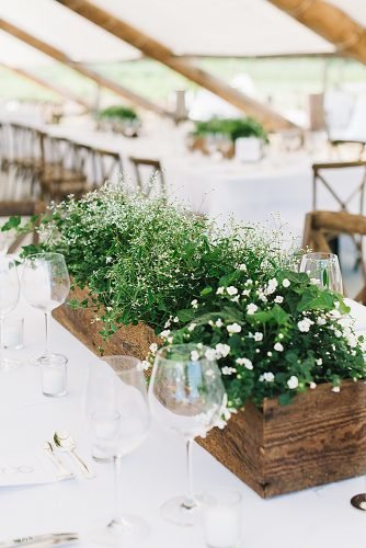diy wedding ideas green centerpiece in wooden plantern