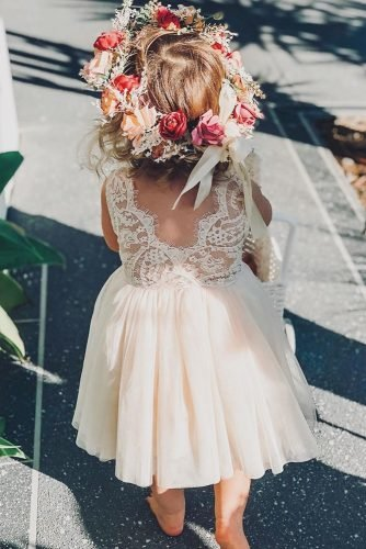 flower girl dresses lace top v back blush arabellaandrose