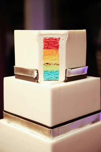lesbian wedding ideas pride colored wedding cake