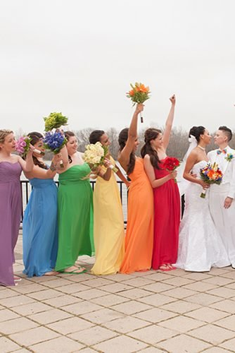 lesbian wedding ideas rainbow bridesmaids dresses