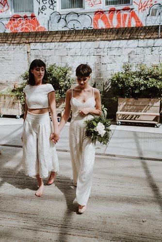 lesbian wedding ideas two brides in jumpsuits