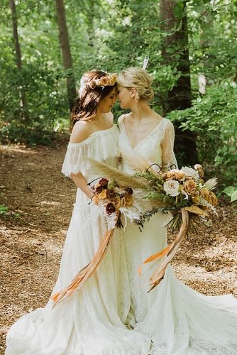 lesbian wedding ideas two brides with wedding bouquets