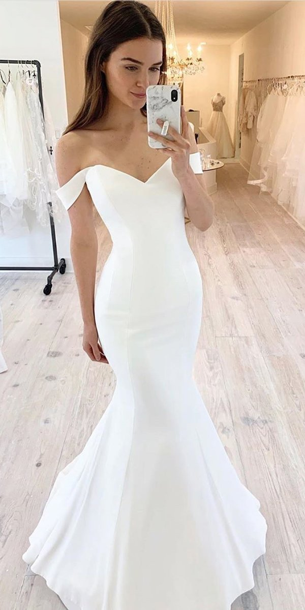 mermaid wedding dresses simple off the shoulder sweetheart neckline suzanneneville