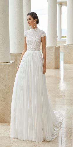 modest wedding dresses a line with cap sleeves lace top high neck rosa clara