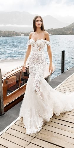 off the shoulder wedding dresses fit and flare sweetheart strapless neckline floral appliques alessandro angelozzi