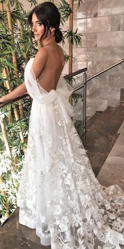 sexy wedding dresses ideas a line low back bow train edenaharon hautecouture
