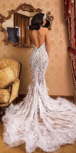 sexy wedding dresses ideas mermaid backless with straps feathers train albinadylaa